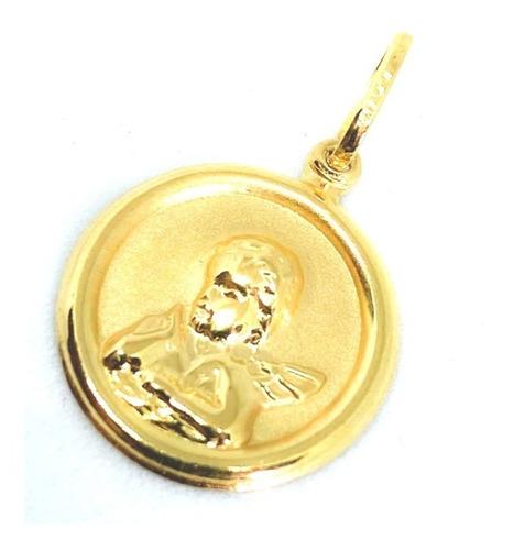 medalha pingente anjo da guarda ouro amarelo 18k certificado