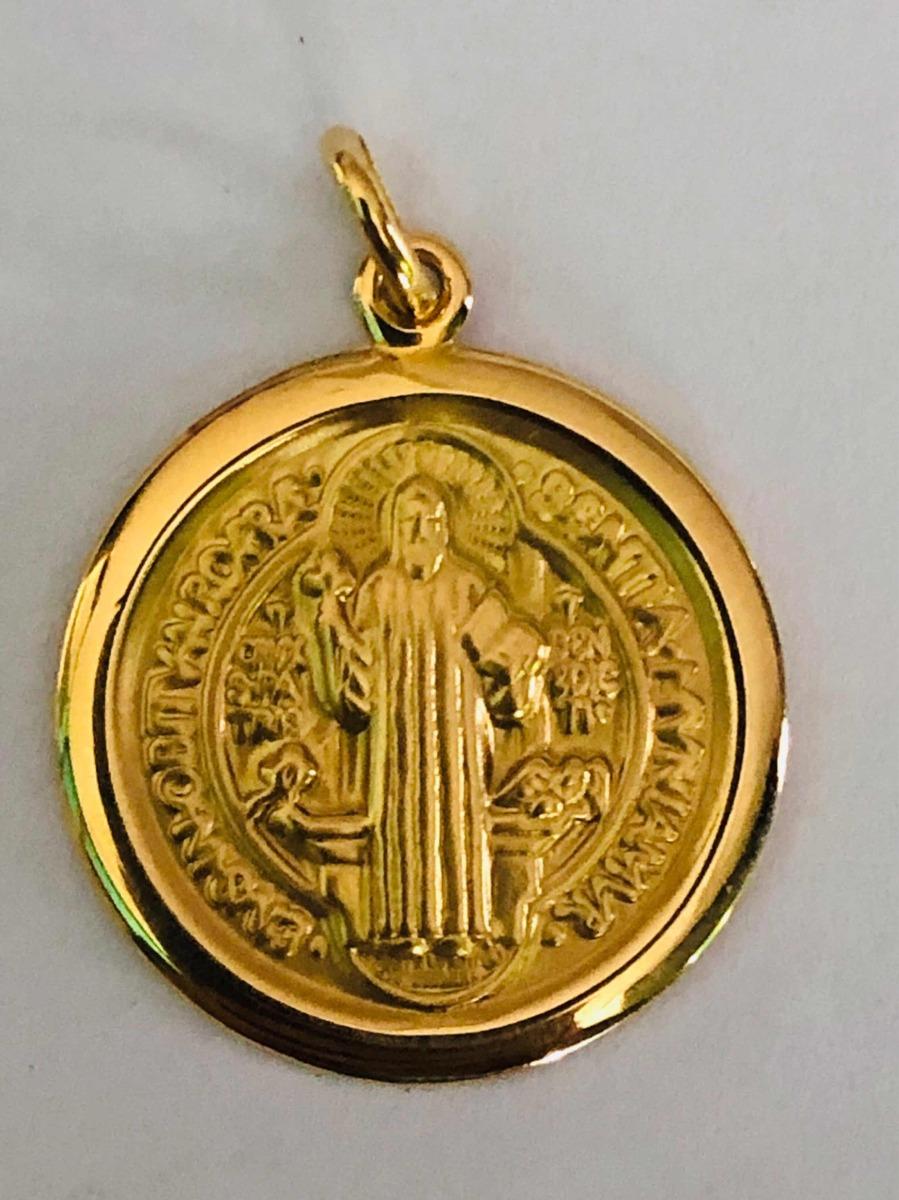 867bebefa313f Medalha Pingente São Bento Ouro 18k Joia - R  2.100,00 em Mercado Livre