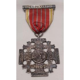 Medalha Religiosa Cruz De Jerusalém / Medalha Da Terra Santa