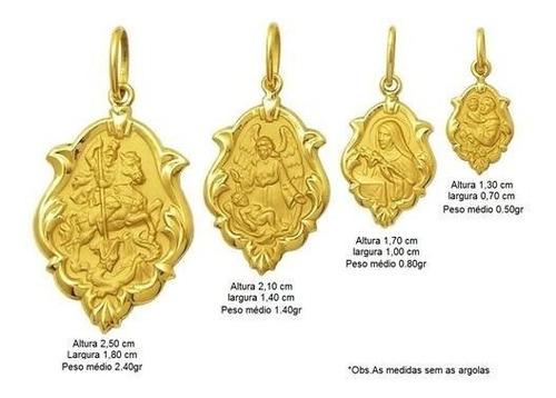 medalha religiosa primeira comunhão catequese ouro 18k 2,5cm