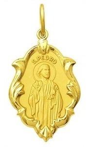 medalha religiosa são pedro em ouro 18k classico 1,5cm 0,70g