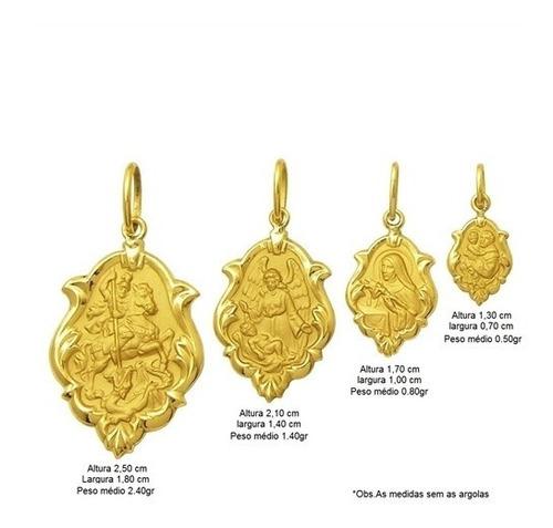 medalha santa bárbara em ouro 18k ornato 2,5cm 2,30g