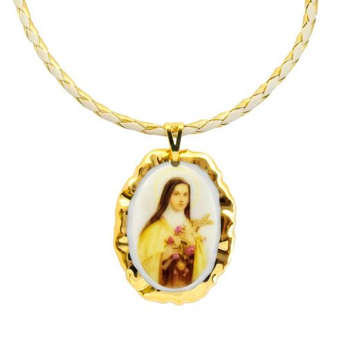 medalha santa terezinha ouro e corrente couro sintético