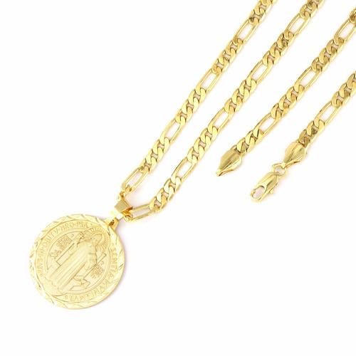 medalha são bento + conjunto pulseira corrente 6mm folheado