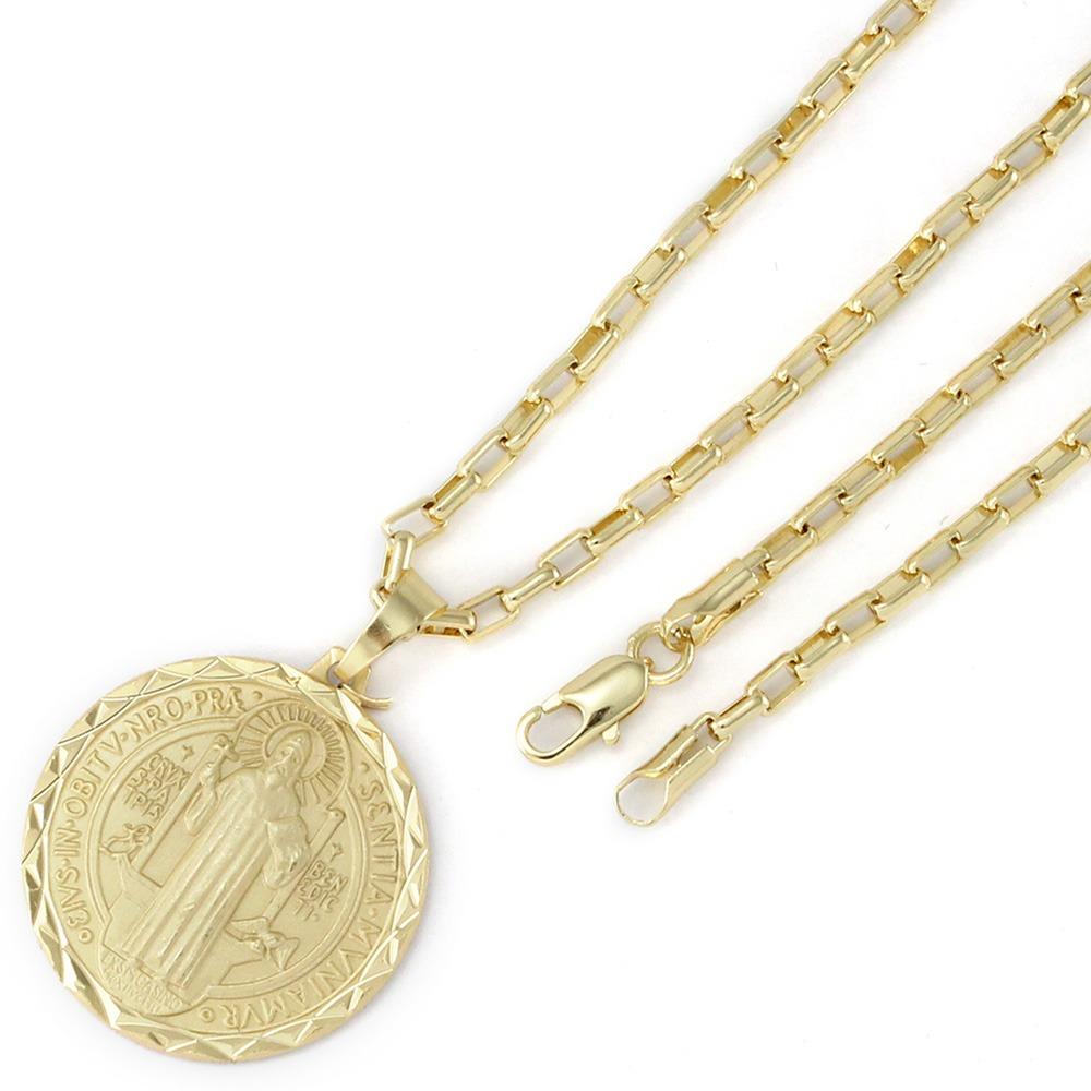 32cdd03d3fe Medalha São Bento + Corrente Cartier 4mm Folheada Ouro - R  151
