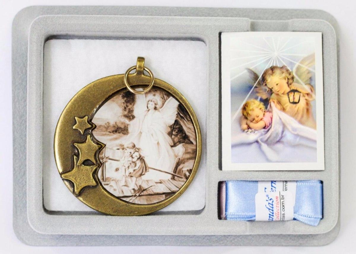 c14f63391 medalhão de berço anjo da guarda foto envelhecida redondo. Carregando zoom.