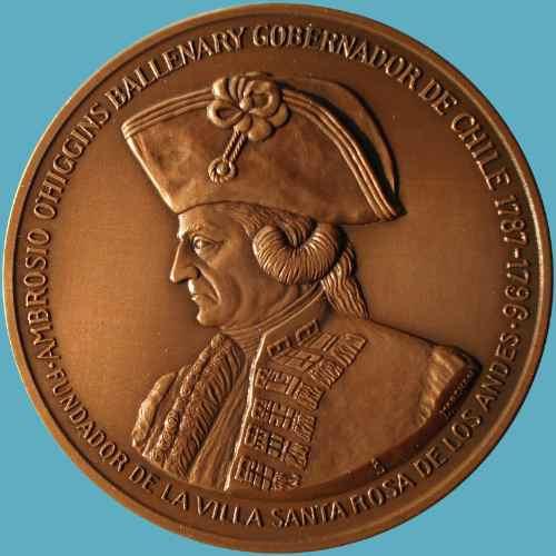 medalla bicentenario fundación de los andes 1791 - 1991.