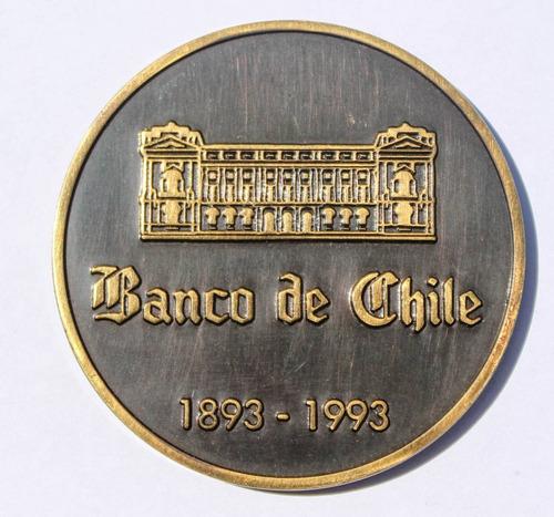 medalla centenario banco de chile 1893 ¿ 1993