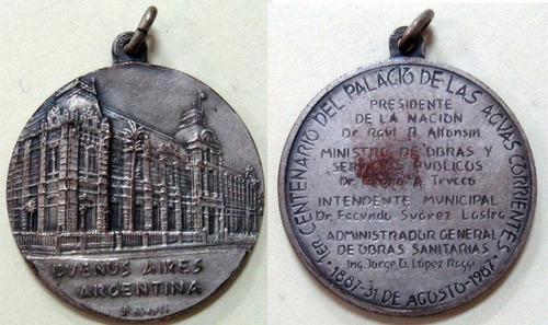 medalla centenario del palacio de las aguas corrientes