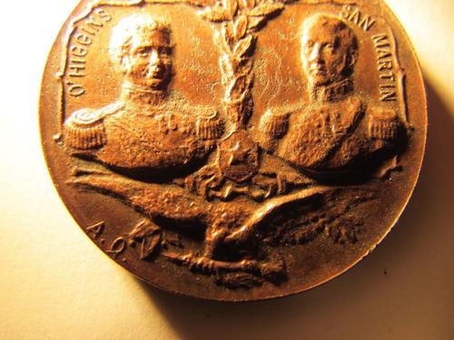medalla centenario independencia chile o´higgins san martin