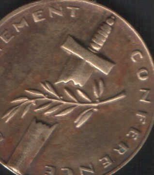 medalla conmemorativa desarmement conference cobre y bronce