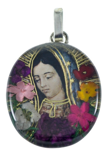 medalla de la virgen de guadalupe - plata y naturaleza