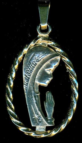 medalla de la virgen de plata bañada en oro  14kt