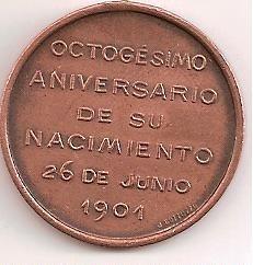 medalla de mitre  octogesimo aniv.de nacimiento 26 jun 1901