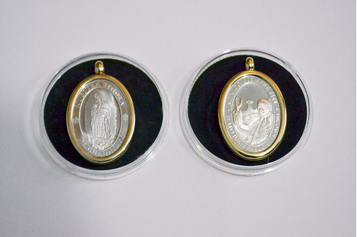 medalla de plata papa juan pablo ll y virgen de guadalupe