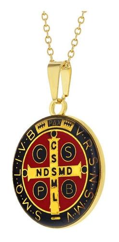 medalla de san benito+ cadena+ caja de regalo