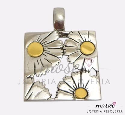 medalla flor calada en plata 925 y oro 18 kts. dv036