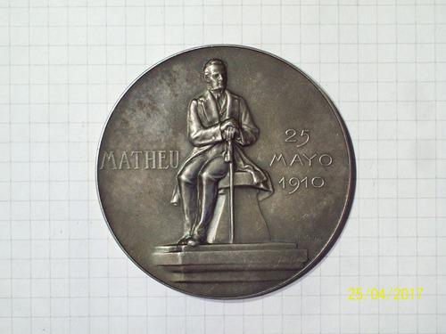 medalla homenaje a matheu 25 de mayo 1910 plata 109 gr 65 mm