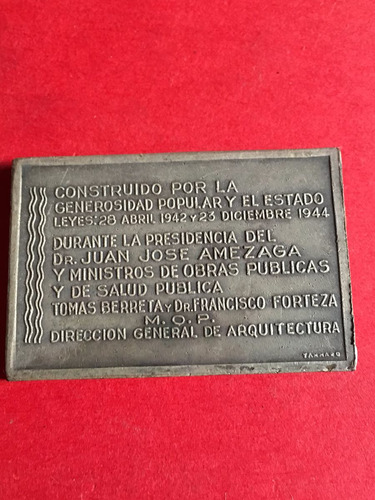 medalla, hospital mercedes 1946, tammaro, mt335