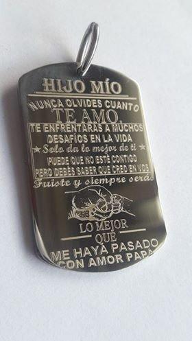 Medalla Llavero Acero Cadena Frases Hijo Hija Grabado Laser