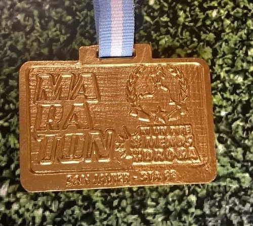 medalla llavero metal running correr futbol mtb  50 mm