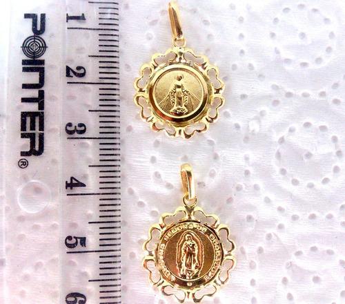 medalla milagrosa o virgen de guadalupe en 100% oro de 18k
