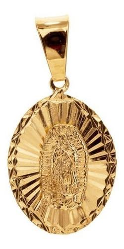 medalla oval virgen guadalupe con cadena en chapa de oro 22k