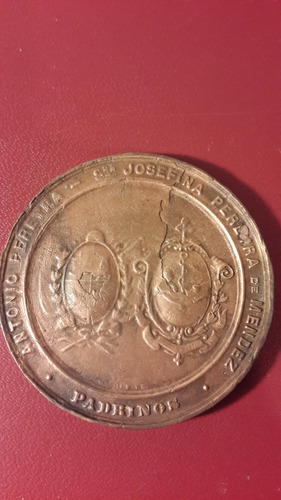 medalla piedra fundamental, don bosco, 1896, 46 mm, mt167