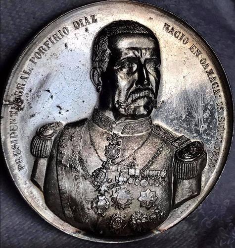 medalla porfirio diaz plata 2 onz  excelente envio gratis