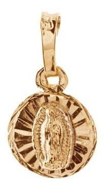medalla redonda virgen guadalupe c/ cadena chapa de oro 22k
