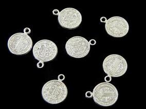 e692e7ec608f Medalla San Benito Baño De Plata 1cm Bisuteria 100pzs+envio