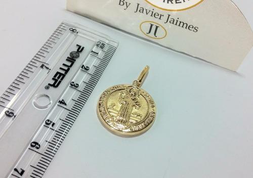 medalla san benito grande oro de 18k - 750 despacho 3 dias