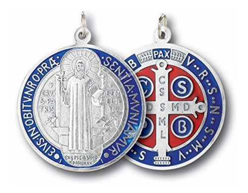 medalla san benito medallon plateado esmaltado 32mm italy