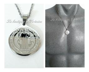 c5633df50835 Medalla San Benito Pequeña Acero Inoxidable Cadena