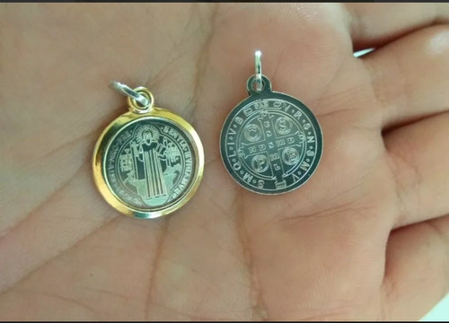 medalla san benito plata maciza 925 con oro + cadena 45cms