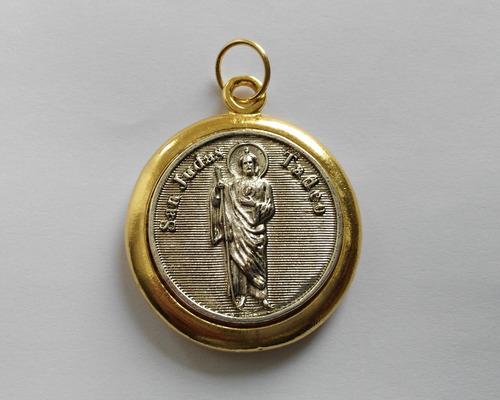 medalla san judas tadeo en 7 metales alquímicos chapa de oro