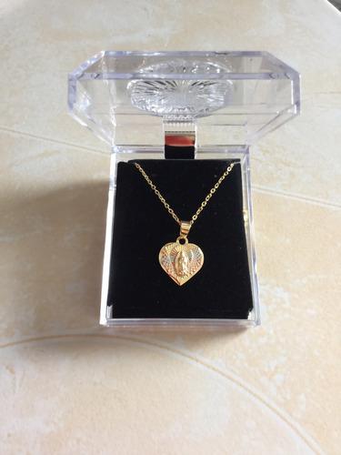 medalla virgen de guadalupe de corazon oro laminado 14k