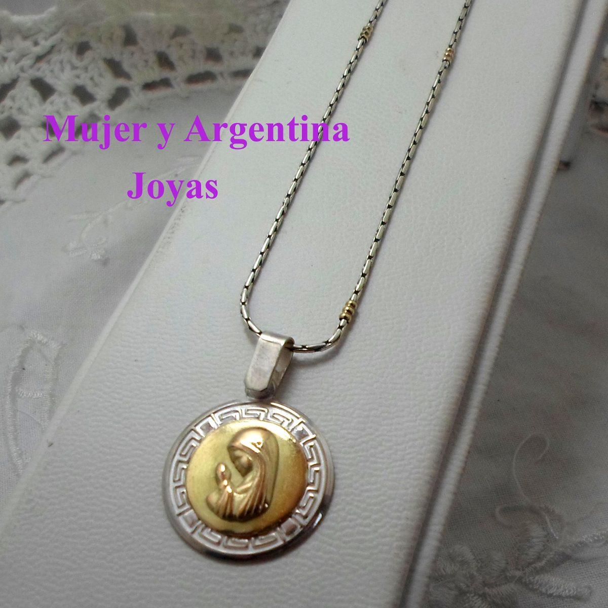 94ebec720f09 medalla virgen niña con cadena plata con oro 18 kts. Cargando zoom.