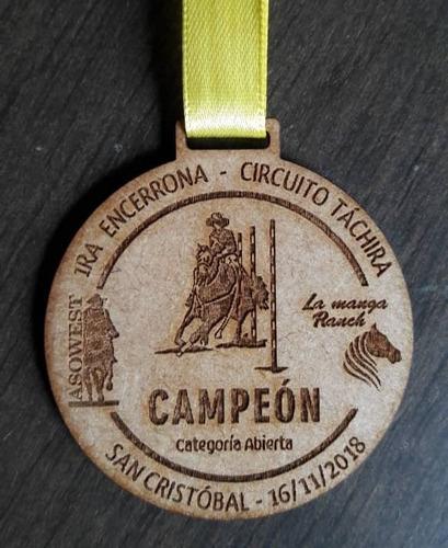 medallas 3mm mdf grabado mate en láser trofeos