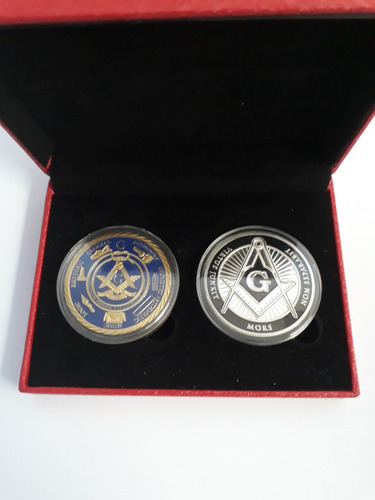 medallas conmemorativas masonería con estuche