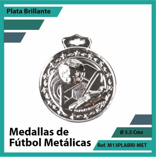 medallas deportivas de futbol metalica plata m13pla