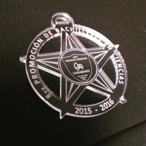medallas en acrilico grabado laser