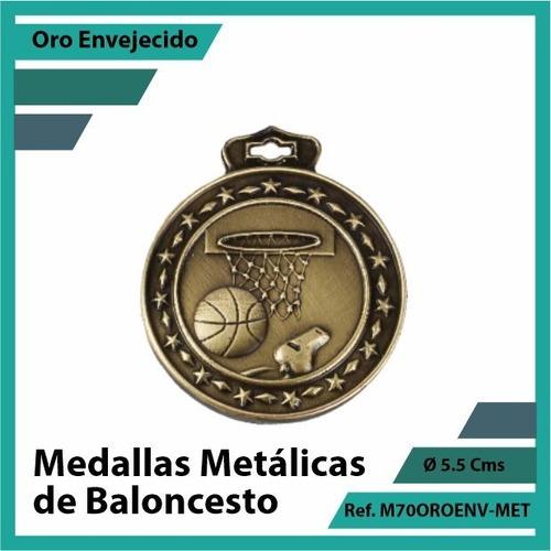 medallas en cali de baloncesto oro metalica m70oro