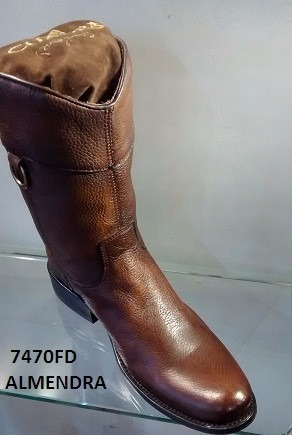 media bota cuadra vaquera semioval piel res tonka almendra