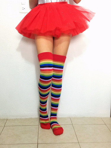 media calceta rainbow arcoiris lolita sexy payaso #7