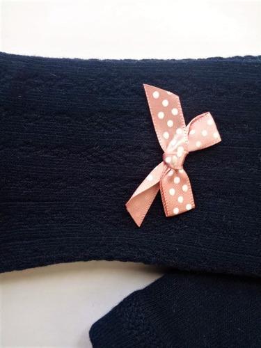 media pantalón para niñas color azul con moño rosa