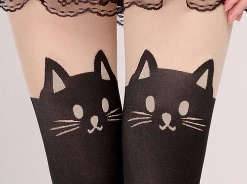 medias de gato medias con tatuaje de gatito kawwaii sexys