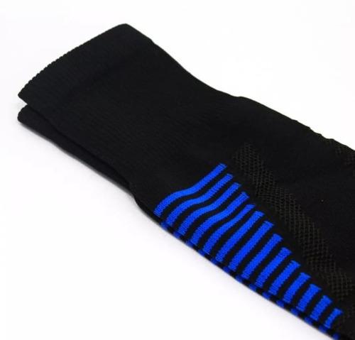 medias deportivas fútbol profesional negro -  azul rey