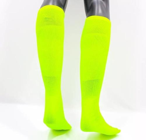 medias deportivas fútbol semi- profesionales amarillo-neon