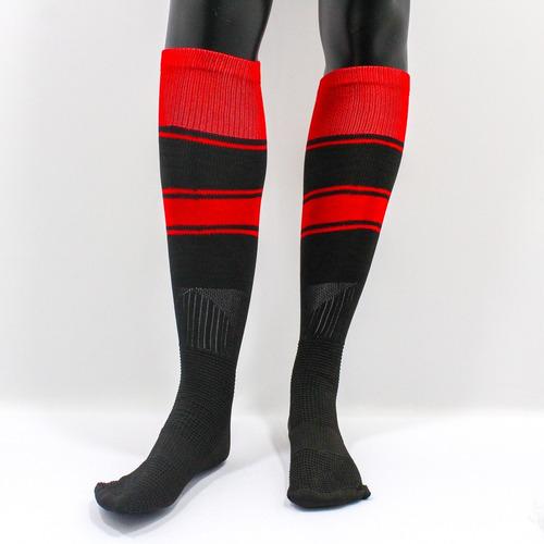 medias deportivas futbol semi profesionales - negro/ rojo